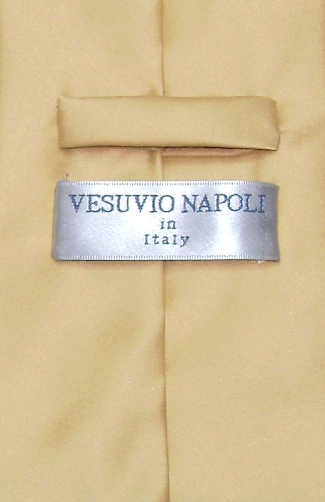 Vesuvio Napoli NeckTie Solid GOLD Color Men's Neck Tie