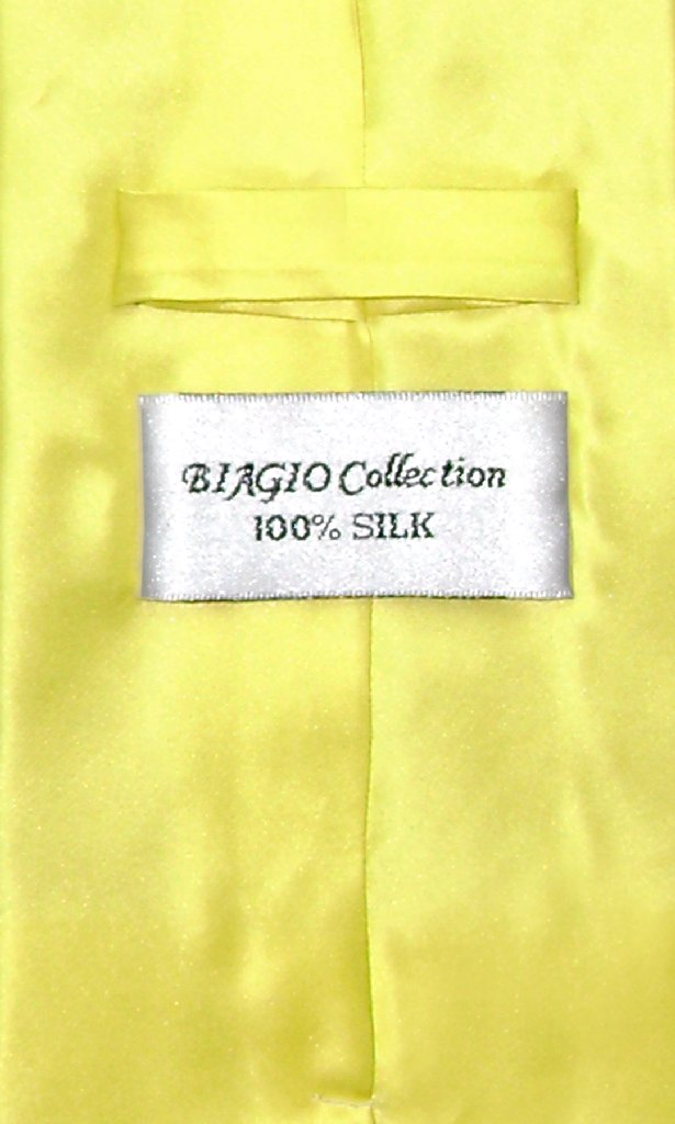 Biagio 100% SILK NeckTie EXTRA LONG Solid YELLOW Color Men's XL Neck Tie