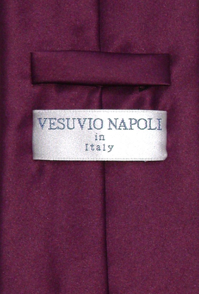 Vesuvio Napoli Solid EGGPLANT PURPLE NeckTie & Handkerchief Men's Neck Tie Set