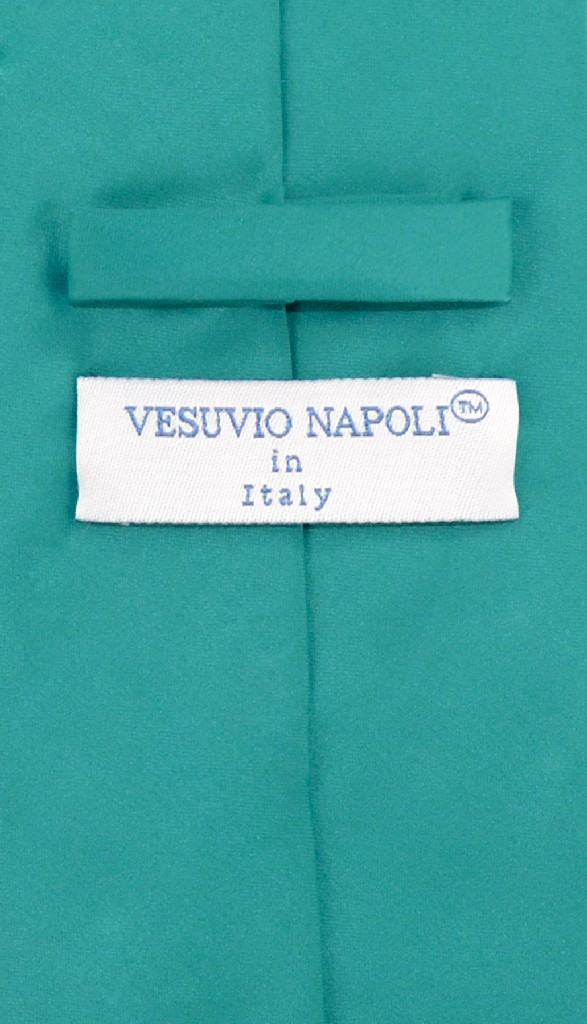 Vesuvio Napoli NeckTie Solid TEAL Color Men's Neck Tie
