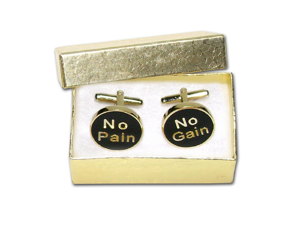 Gold-Tone Men's Cuff Links NO PAIN NO GAIN Cufflinks
