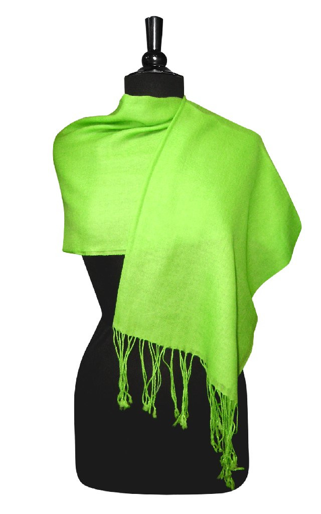 Biagio 100% Wool Pashmina Solid Scarf LIME GREEN Color Women's Shawl Wrap Scarve