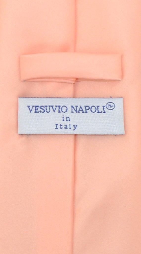 Vesuvio Napoli NeckTie Solid PEACH Color Men's Neck Tie
