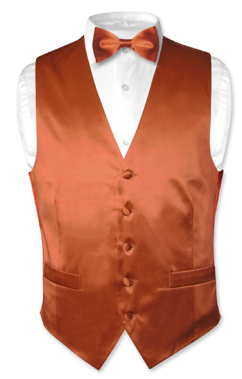 Biagio Mens Silk Dress Vest Amp Bow Tie Solid Burnt Orange