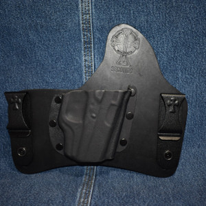 13890 CrossBreed SuperTuck GLOCK 42 with Crimson Trace LG-443 / Right Hand / Black Cow / Combat Cut