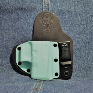 14745 CrossBreed Appendix Carry GLOCK 26 / Right Hand / Black Cow / Tiffany Blue Pocket