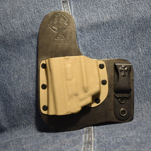 14811 CrossBreed Freedom Carry SMITH & WESSON SHIELD 9/40 with LASERMAX CENTERFIRE LASER / Left Hand / Black Cow / Flat Dark Earth Pocket