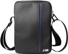 "BMW,  ""M"" ,  Leather Tablet Bag 10""  -  Carbon & Blue stripe"