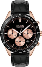 Hugo Boss Watch, Talent collection,  RG Case,  Tachymeter Black Bezel, Black Croc Leather Strap