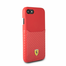 """Ferrari, Case WITH CARD SLOT for iPhone 8/7, Collection """"SF"""" , CARBON, Red"""