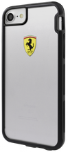"Ferrari , SHOCKPROOF  Case case for iPhone 8/7, collection ""Racing Shield "",  Bi-Material,  Black Bumper"