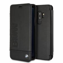 BMW, Book Case for Samsung S9 +  Logo Imprint , Genuine Leather - Black
