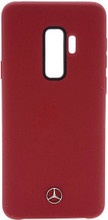 Mercedes , Case for Samsung S9+, LIQUID SILICON  with microfiber lining,  Red
