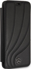 "Book Case for Samsung S9, Mercedes, Collection ""NEW ORGANIC II "",   Genuine Leather,  Black"
