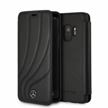 "Mercedes , Book Case for Samsung S9, collection ""NEW ORGANIC II "",   Genuine leather,  Black"