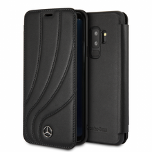 "Mercedes , Book Case for Samsung S9+, collection ""NEW ORGANIC II "",   Genuine leather,  Black"
