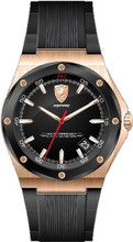 Scuderia Ferrari, Aspire Mens Watch, Brushed Rose Gold Case, Black IP bezel,  Black enamel  Dial with Rose Gold details