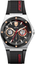 Scuderia Ferrari,  Aspire Mens Watch, Brushed Stainless Steel Case, Black enamel textured Dial