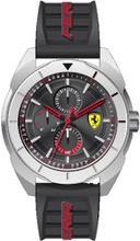 Scuderia Ferrari, ( New 2018 Summer collection ), Forza Mens Watch, Brushed Stainless steel Case and Polished SS bezel, Black sunray  dial with SS details,  Black silicone strap, 45mm