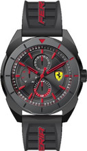 Scuderia Ferrari, ( New 2018 Summer collection ), Forza Mens Watch, Brushed Black IP Case and bezel, Black sunray dial with red details, Black silicone strap, 45mm