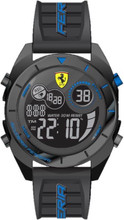 Scuderia Ferrari, ( New 2018 Summer collection ), Forza Digital Mens Watch, Gloss Black ABS Case, Black matte dial with Blue details, Black silicone strap with blue detail, 45mm