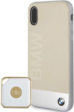 Bundle of  BMW Beige Genuine Leather Case for iPhone Xs/X and Tile Style tracker Pro
