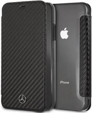 "Mercedes, Book-Case for iPhone Xr, Collection ""DYNAMIC"" , Real Carbon fiber with transparent back holder, Black"