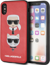 Karl Lagerfeld, Case for iPhone Xs/X, Karl and Choupette, Red