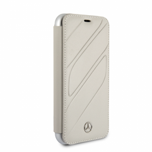"""Mercedes, Book-Case for iPhone Xr, collection """"NEW ORGANIC I """", Genuine leather, Crystal Grey"""