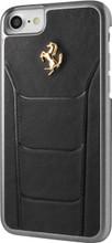 Ferrari 488,  Hard Case iPhone 8/7 - Black Genuine Leather ,  Gold Logo