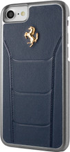 Ferrari 488,  Hard Case iPhone 8/7 - Blue Genuine Leather - Gold Logo