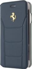 Ferrari 488,  Book type Case iPhone 8/7 - Blue Genuine Leather - Gold Logo