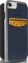 Ferrari 488 - Booktype Case iPhone 8/7 - Blue Genuine Leather - Gold Logo. back view