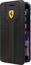 Ferrari RACING - Black Carbon Leather Black Trim Book-type Case for Samsung S7