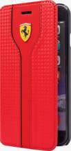 Ferrari RACING - Red Carbon  Leather Red Trim Booktype Case for Samsung S7