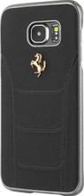 Ferrari 488 -  Case for Samsung S7-  Genuine Leather -   GOLD LOGO (Black )