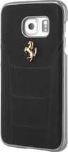 Ferrari 488 -  Case for Samsung S7 Edge -  Genuine Leather -   GOLD LOGO (Black )