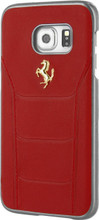 FERRARI - 488 -  Case for Samsung S7 -  Genuine Leather - (  Red )  GOLD LOGO
