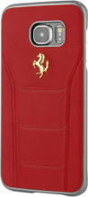 FERRARI - 488 -  Case for Samsung S7 Edge  -  Genuine Leather - ( Red ) GOLD LOGO