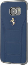 FERRARI - 488 -  Case for Samsung S7 Edge  -  Genuine Leather - ( Blue ) GOLD LOGO