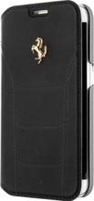 FERRARI 488 - Booktype Case FOR SAMSUNG S7 -  Genuine Leather -  ( Black ) GOLD LOGO