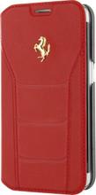 FERRARI 488 - Booktype Case FOR SAMSUNG S7 -  Genuine Leather -  ( Red ) GOLD LOGO