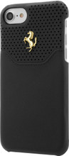 """Ferrari case for iPhone 8/7 ,  collection """"LUSSO""""  , Genuine Leather ,   Gold Logo ,  Black"""