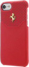 """Ferrari case for iPhone 8/7,  collection """"LUSSO"""", Genuine Leather,   Gold Logo ,  Red"""
