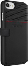 """Ferrari Book type case for iPhone 8/7 ,  collection """"LUSSO""""  , Genuine Leather ,   Gold Logo ,  Black. back view"""