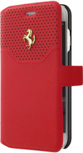 """Ferrari Book type case for iPhone 8/7 ,  collection """"LUSSO""""  , Genuine Leather ,   Gold Logo ,  Red"""