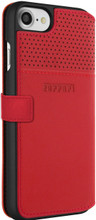 """Ferrari Book type case for iPhone 8/7 ,  collection """"LUSSO""""  , Genuine Leather ,   Gold Logo ,  Red. back view"""