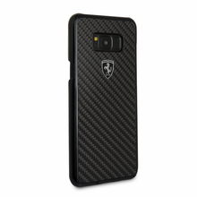 "Ferrari case for  Samsung Galaxy S8 Plus ,collection "" Heritage "" , Real Carbon , Black"