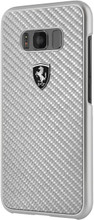 """Ferrari case for  Samsung Galaxy S8 Plus ,collection """" Heritage """" , Real Carbon , Silver"""
