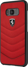 """Ferrari Case for Samsung Galaxy S8, Collection """"Heritage"""", Genuine leather Quilted , Red"""